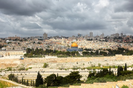 mount of olives: Jerusalem and stormy clouds