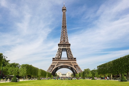 monument historical monument: Eiffel Tower, tourist attraction in Paris Stock Photo
