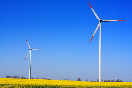 Wind power on blue sky Stock Photo - 14442251