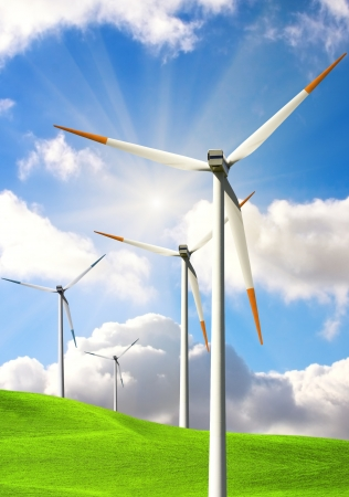 Wind energy on blue sky Stock Photo - 14496925