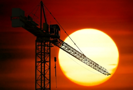 Construction site at sunset photo