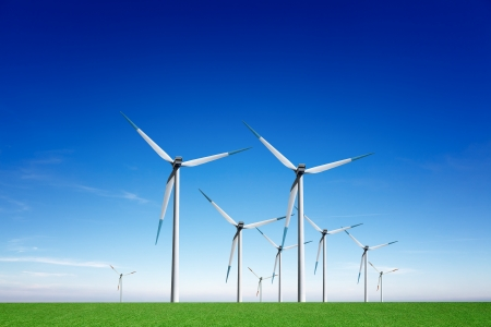 wind mills: Global wind energy Stock Photo