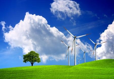 sustainability: Nature and technology Stock Photo