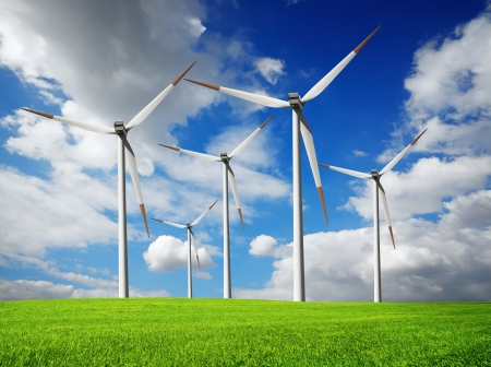 wind mills: Wind turbines farm