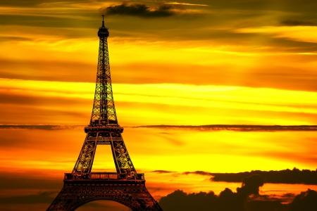 parisian scene: The Eiffel tower at sunset Stock Photo