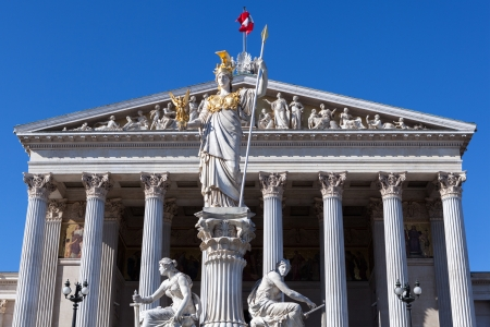 Statue of Pallas Athena in front of the Austrian Parliamen photo