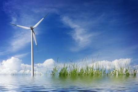wind mills: Water environment Stock Photo