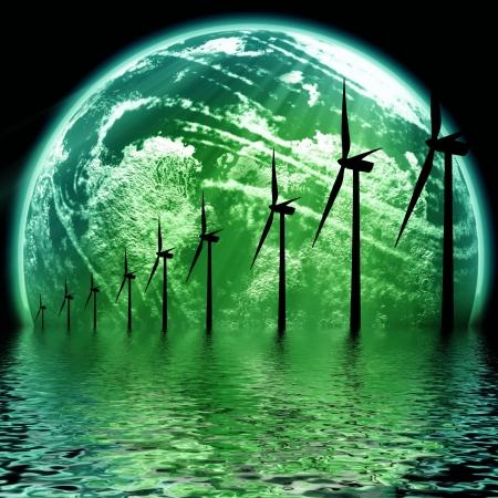 futuristic effect: Green Earth concept