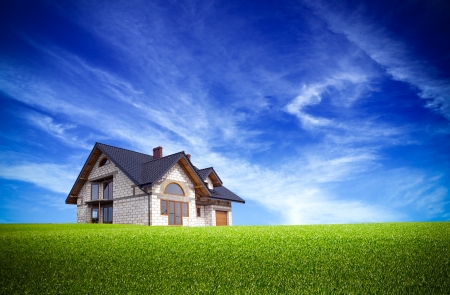 Huis op de natuur Stockfoto