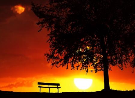 日没の休憩所 写真素材