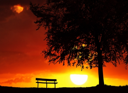 banc de parc: Lieu de repos au coucher du soleil