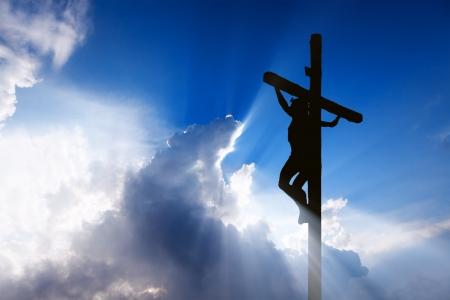 cruz religiosa: Jes?s en la cruz Foto de archivo