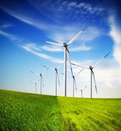 Windturbines boerderij Stockfoto