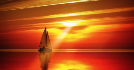 Sailing to the sunset photo