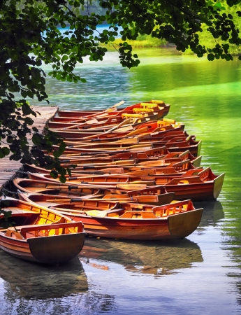 plitvice: Boats in the national park Plitvice