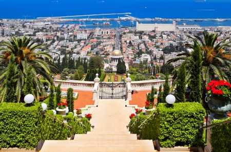 Beautiful Haifa view of Mediterranean Sea and Bahai Gardens photo