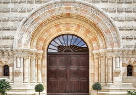 holyland: The entrance to the Dormition Abbey in Jerusalem Stock Photo