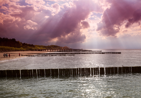 recedes: Sea sunset Stock Photo