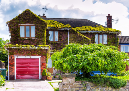 residential garage: English house with garage Editorial