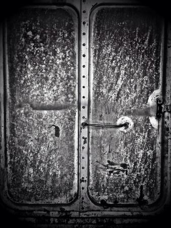 bogie: The door of the old train bogie Stock Photo