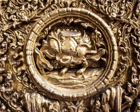 wat bowon: Lotus Sculptuer At wat bo-won niwet Bangkok, Thailand Stock Photo
