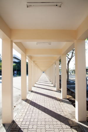 diminishing view: The corridor with sunlight Stock Photo