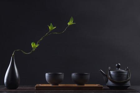 花瓶の絶妙なお茶セット 写真素材
