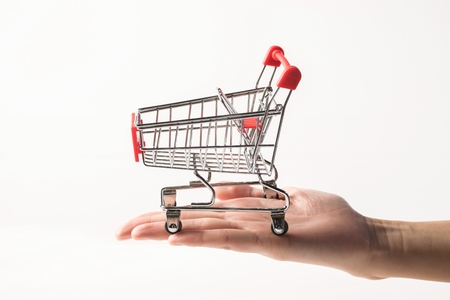 Hand holding trolley cart