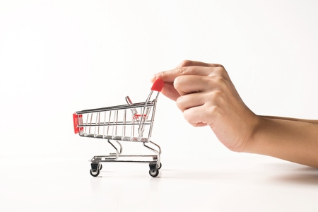 Shopping Cart on white background Stock Photo