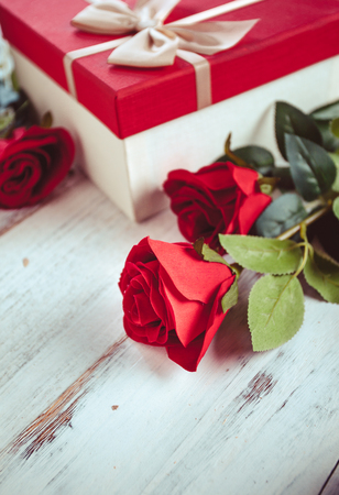 Tanabata Valentines Day rose and gift box Stock Photo