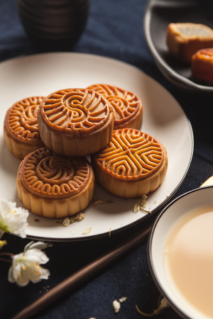 Chinese moon cake on a plate