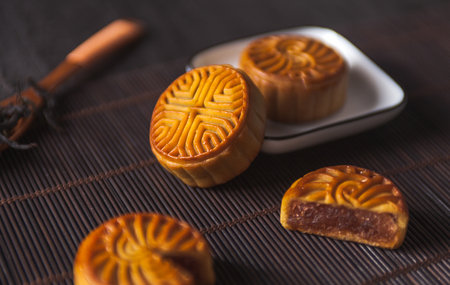 Chinese moon cake on dark background