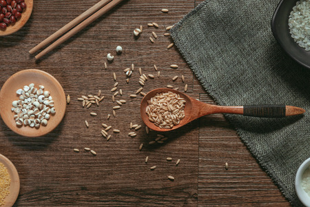 Food grain on wooden background