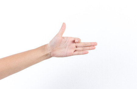Finger gestures on white background