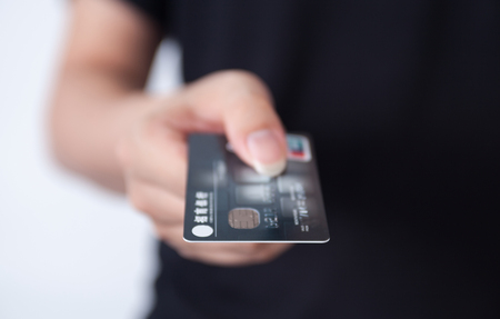 Take the gesture of a bank card Imagens