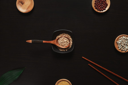 Tableware and grains Stock Photo