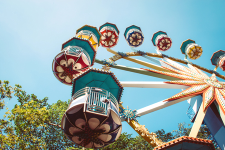 Low angle view of a ferris wheel in an amusement park Archivio Fotografico - 96273641