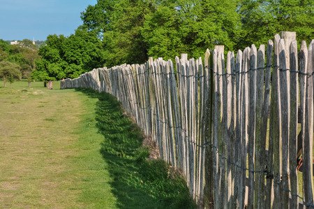 view of wooden fence in a park Stockfoto