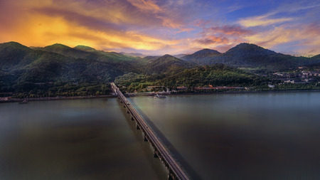 Qian Tang River Bridge landscape view