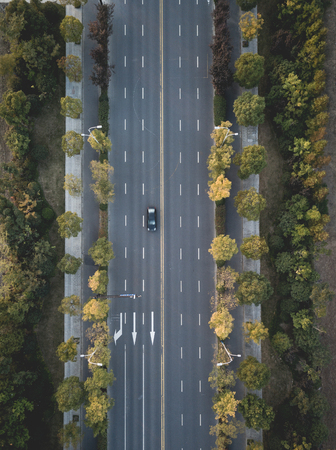 A straight road of aerial photography