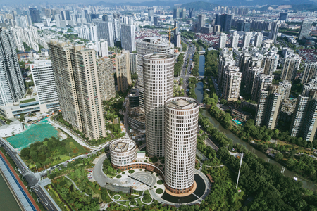 The high building aerial photograph of the city