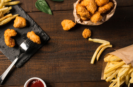 Fried chicken with Western fast food chips Stock Photo