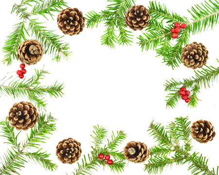 Christmas frame. Pine cones, fir branches, red berries on white background. New Year concept.