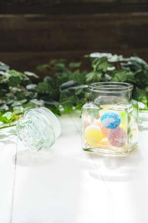 Close up of Japanese candys. (Japanese candy 'Bekkoame')