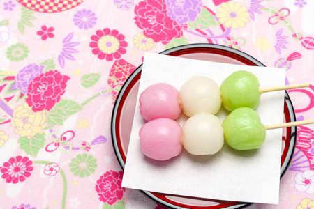 Japanese three colored dumplings 'Sanshoku Dango'