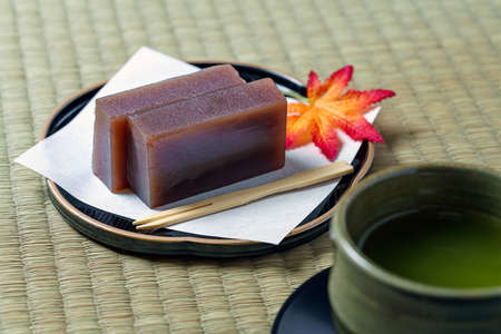 Japanese traditional confection 'Yokan' and hot japanese tea