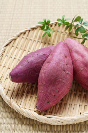 Sweet potatoes on Japanese bamboo baskets
