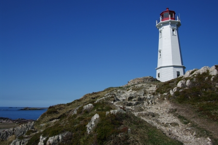 Lightouse at Louisbourg: This lighthouse is at the historic site of Canada's first lighthouse, built in 1734 on the rocky Nova Scotia coastline.