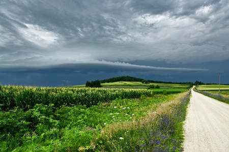 gather: Storm Clouds Over a Country Road:  Gray clouds gather before a summer storm in northeast Iowa.