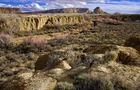 floodplain: Canyon River Wash:  A dry floodplain forms the floor of Chaco Canyon in western New Mexico. Stock Photo